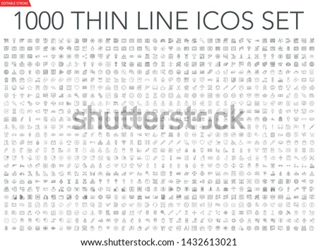 Set of 1000 thin line icons: business, finance, office, banking, SEO, travel, drugs, dental, medical, web, baby, web development, digital marketing, conscious living, navigation, graphic design, pets.