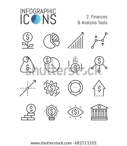 Set of thin line icons, finances and analysis tools: accounting, income growth, budget planning, taxation, money saving, monetary policy. Vector illustration for website, banner, presentation, report.