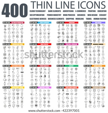 Set of thin line icons for cloud tehnology and devices, seo, industry, business elements, advertising, shopping, e-commerce, web development, ecology, travel, business education. Linear symbols set.