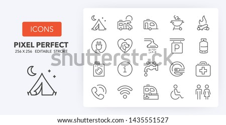 Set of thin line icons of camping, services. Outline symbol collection. Editable vector stroke. 256x256 Pixel Perfect scalable to 128px, 64px...