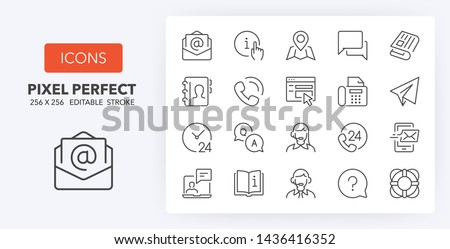 Set of thin line icons of contact and support services. Outline symbol collection. Editable vector stroke. 256x256 Pixel Perfect scalable to 128px, 64px...