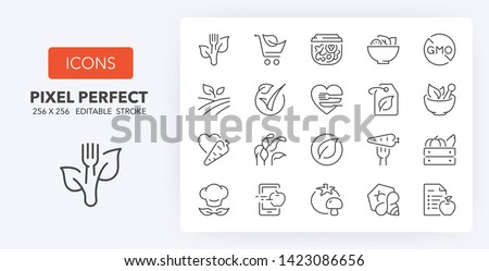 Set of thin line icons of healthy, organic food and diet. Outline symbol collection. Editable vector stroke. 256x256 Pixel Perfect scalable to 128px, 64px...