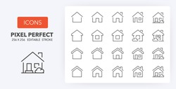 Set of thin line icons of homes and real estate. Outline symbol collection. Editable vector stroke. 256x256 Pixel Perfect scalable to 128px, 64px...