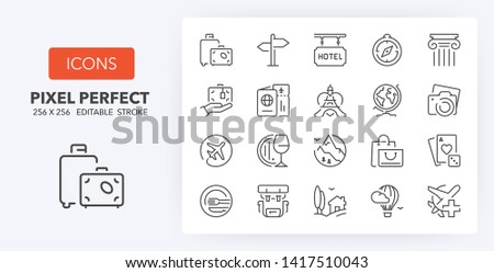 Set of thin line icons of travel, tourism and destinations. Outline symbol collection. Editable vector stroke. 256x256 Pixel Perfect scalable to 128px, 64px...