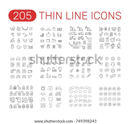 set of thin line icons