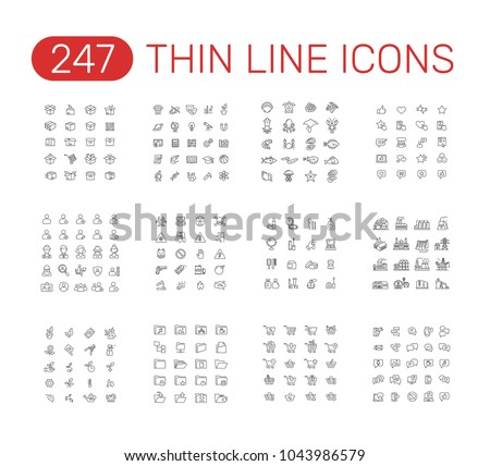 Set of thin line icons pictogram. Box, school subjects, sea food, testimonials, users,  warning, message, plants, factory buildings, folders, shopping cart, cosmetics theme. Vector illustration design