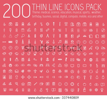 set of thin line icons pictogram. For web and mobile infographic. Happy birthday, business, ofiice, digital, eco, sport, education, music, whether, medical theme. Vector illustration design  #337440809