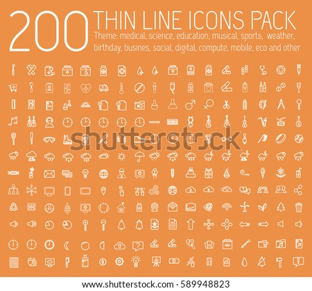 set of thin line icons pictogram. For web and mobile infographic. Happy birthday, business, ofiice, digital, eco, sport, education, music, whether, medical theme. Vector illustration design  #589948823