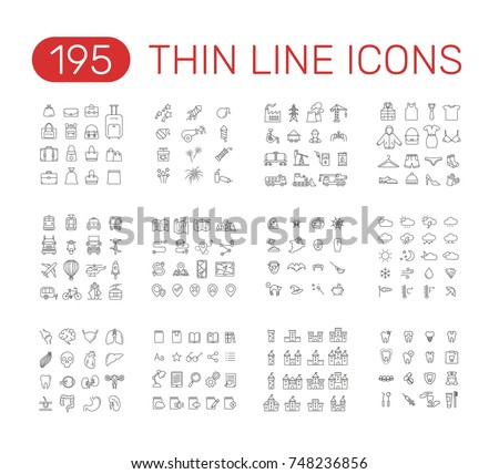 Set of thin line icons pictogram. Halloween, pyrotechnic, bag, industry,  transport, clothes, weather, route map, castles, internal organs, book reader, dental theme. Vector illustration design