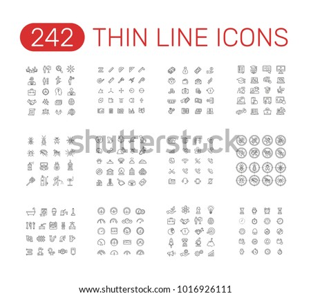 Set of thin line icons pictogram. Head hunting, measure, time, money, online education,  pest control, pet, phone, plumber, speedometer, startup project theme. Vector illustration design