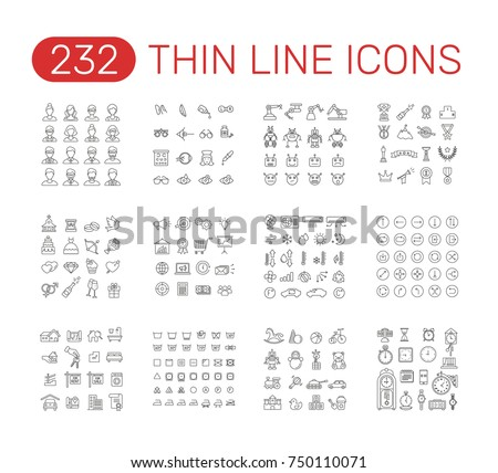 Set of thin line icons pictogram. People, optometry, robot, winning awards,  wedding, marketing, air conditioning, arrow, real estate, garment care, baby toy, time theme. Vector illustration design