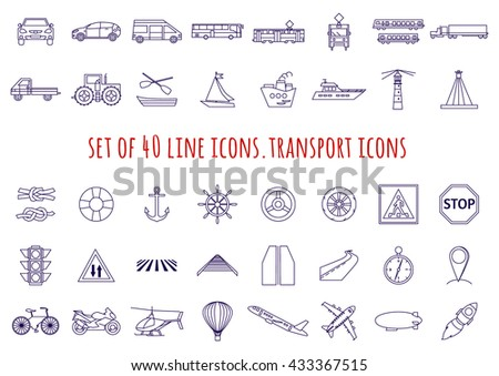Set of 40 thin line icons. transport icons. transportation