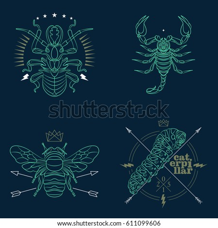 set of thin line insects icons