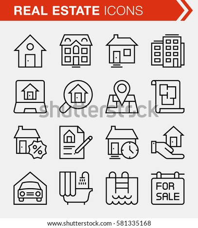 Set of thin line real estate icons. Pixel perfect icons for mobile apps and web design.