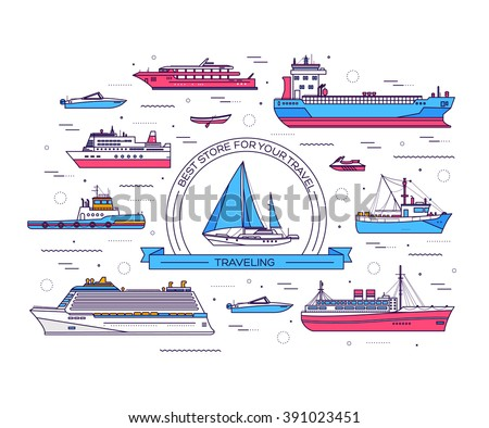 set of thin line ship vector