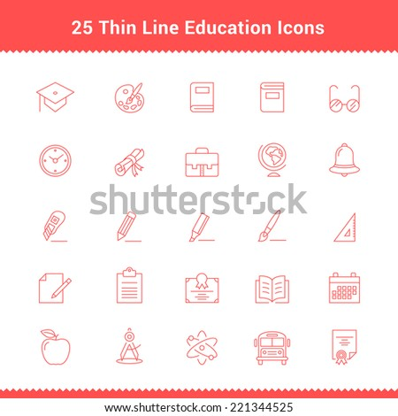 Set of Thin Line Stroke Education Icons Vector Illustration