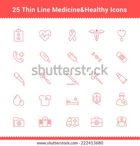 Set of Thin Line Stroke Medical Icon Vector Illustration