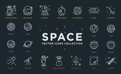 Set of Thin Line Stroke Vector Astronomy and Space Icons. Spaceman, astronaut, helmet, solar system, galaxy, planet, earth, mars, satellite, alien abduction, shuttle, rocket, orbit, asteroid.