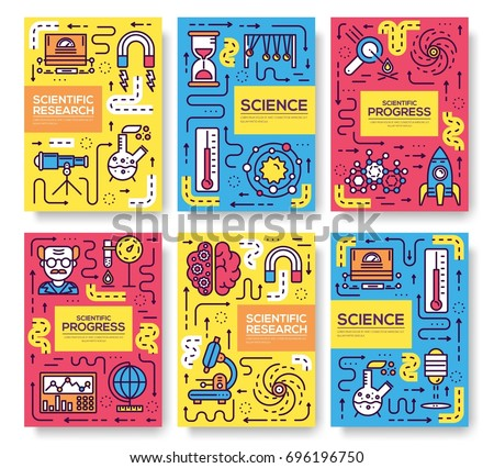 Stock Photo Set of thin line technical minds pattern concept. Art physics and mathematics equipment, magazine, book, poster, abstract, banners, element. Vector outline package greeting card or invitation brochure