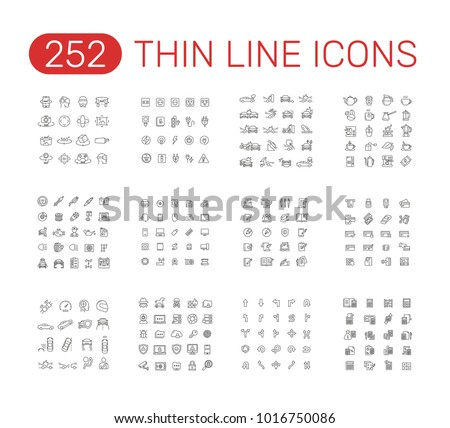 set of thin line vector icons