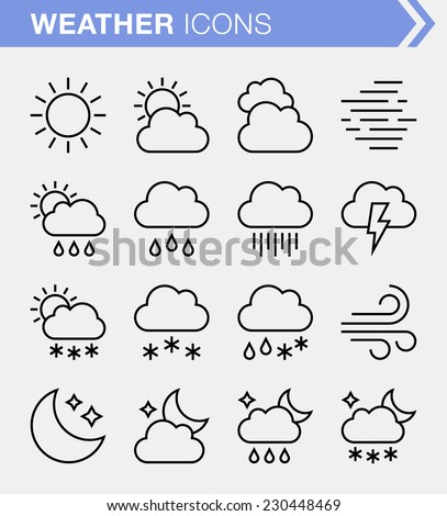 Set of thin line weather icons.