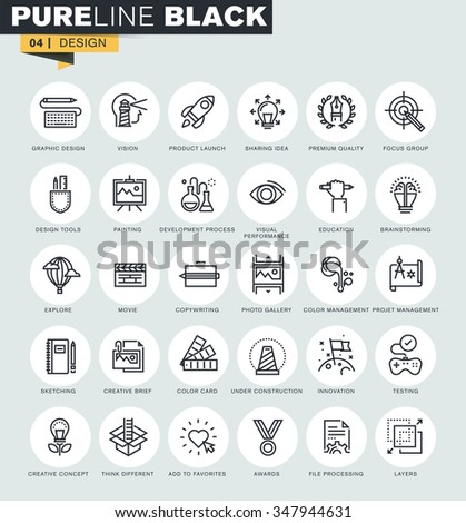 Set of thin line web icons of design, art and media. Premium quality icons for website, mobile website and app design.
