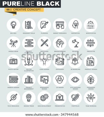 Set of thin line web icons of graphic design and project workflow. Premium quality icons for website, mobile website and app design.