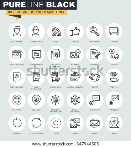 set of thin line web icons of