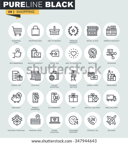 Set of thin line web icons of online shopping. Premium quality icons for website, mobile website and app design.