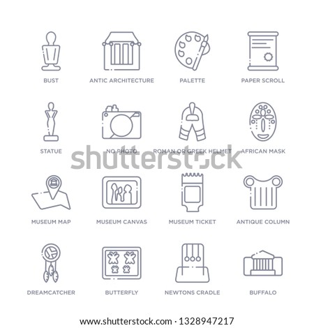 set of 16 thin linear icons such as buffalo, newtons cradle, butterfly, dreamcatcher, antique column, museum ticket, museum canvas from museum collection on white background, outline sign icons or
