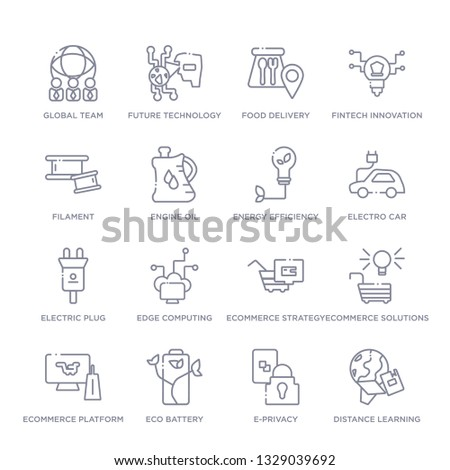 set of 16 thin linear icons such as distance learning, e-privacy, eco battery, ecommerce platform, ecommerce solutions, ecommerce strategy, edge computing from general collection on white