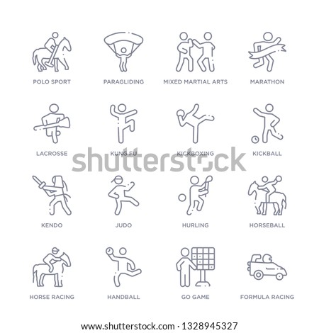 set of 16 thin linear icons such as formula racing, go game, handball, horse racing, horseball, hurling, judo from sport collection on white background, outline sign icons or symbols