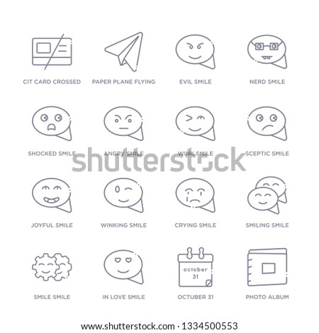 set of 16 thin linear icons such as photo album, octuber 31, in love smile, smile smile, crying winking from user interface collection on white background, outline sign icons or