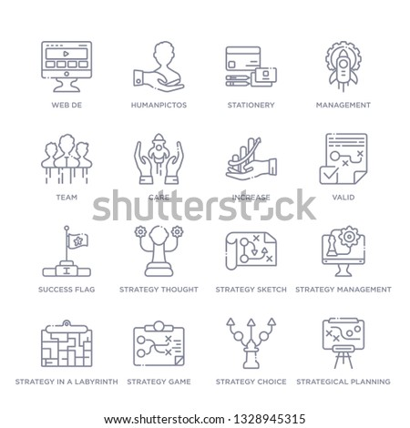 set of 16 thin linear icons such as strategical planning, strategy choice, strategy game, strategy in a labyrinth, management, sketch, thought from startup stategy and collection on white