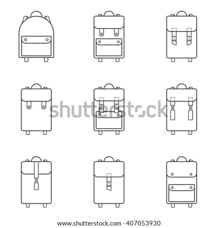 Set of 9 thin modern,flat backpack icon & symbol.Backpack isolated,backpack school,backpack child,backpack tourist,schoolbag,bag.Trendy Hipster,linear art  style.Vector illustration.Isolated on white