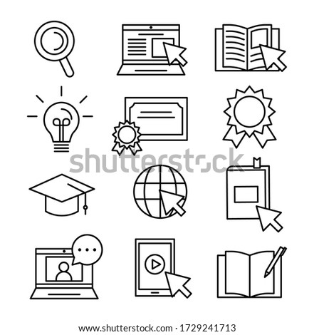 Set of thin outlined black and white icons. Modern online studying or learning. Book, laptop, internet phone and other icons. Stock photo ©