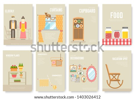 Set of things and food associated with grandmother`s house, lifestyle vertical banners, cards. Elderly people belongings poster vector collection. Senior woman and man hobbies. meals, home decoration.
