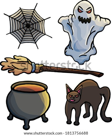 Set of things for Halloween, black cat, ghost, broom, cauldron, cobweb, cartoon style, gloom, darkness, mystic, stickers, for children, holiday, game, witches, love spell, evill, scare, night, dark