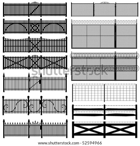 Set of thirteen black fences in various styles