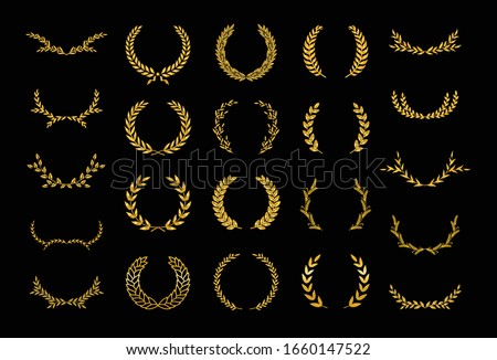 Set of thirty different golden silhouette laurel foliate, wheat and olive wreaths depicting an award, achievement, heraldry, nobility, emblem, logo. Vector illustration.