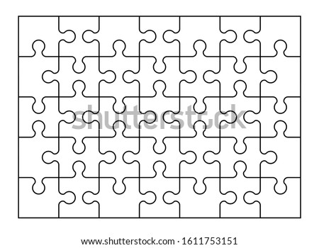 Set of thirty five jigsaw puzzle pieces. Puzzle with different types of details and the ability to move each part. Black and white vector illustration