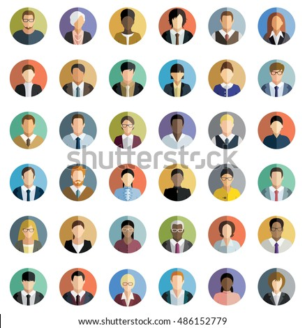 Set of thirty-six flat round icons of business people.