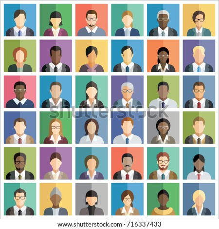 Set of thirty-six flat square icons of business people. #716337433