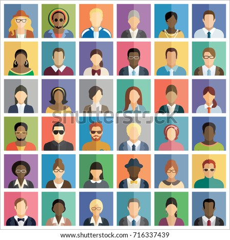 Set of thirty-six flat square icons of people. #716337439