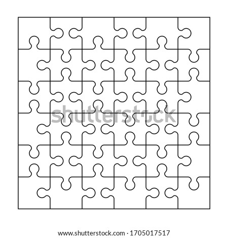 Set of thirty six puzzle pieces. Puzzle with different types of details and the ability to move each part. Black and white vector illustration.