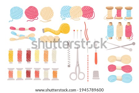 Set of threads for sewing for cross stitching set tools for sewing knitting needles vector wool knitwear yarn thread knitting weaving wool vector illustration on white background