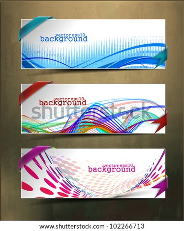 set of three abstract banners &  headers design