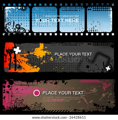 set of three abstract grungy banners