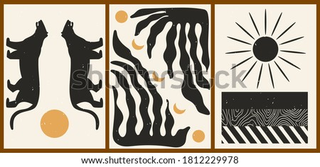 Set of three abstract minimalist aesthetic backgrounds with sun, moon, thin lines, patterns, tiger, plant. Trendy colorful vector illustration for social networks, web design in vintage boho style.
