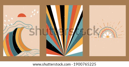Set of three abstract pop art aesthetic backgrounds with different shapes, boho rainbow, waves, dots, thin lines. Trendy colorful vector illustration for social networks, web design, in vintage style.